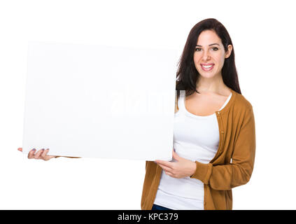 Woman show with white banner - Stock Photo