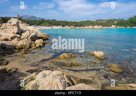 Idyllic beach with turquoise colour sea and granite rocks at Capriccioli, Costa Smeralda, Sardinia, Italy, Mediterranean - Stock Photo