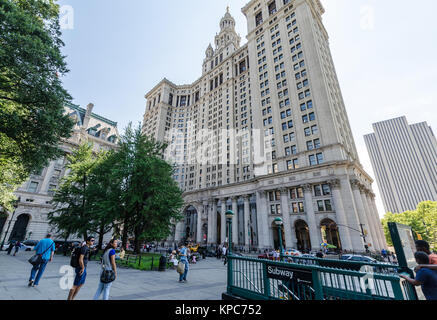 NEW YORK - JUL 17: The Manhattan Municipal Building in July 17, 2014 on NYC. It is a 40-story building built to - Stock Photo