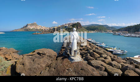 Sailor Patron saint figure at the harbour to Castelsardo, Sardinia, Italy, Mediterranean sea, Europe - Stock Photo