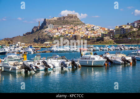 View from the harbour on the village Castelsardo, Sardinia, Italy, Mediterranean sea, Europe - Stock Photo