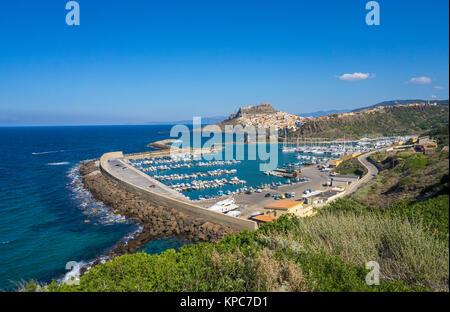 View on harbour and Castelsardo, Sardinia, Italy, Mediterranean sea, Europe - Stock Photo