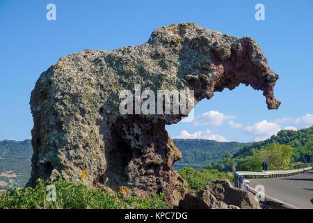 Elephant rock, tourist attraction at Castelsardo, Sardinia, Italy, Mediterranean sea, Europe - Stock Photo
