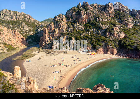 The beach Li Cossi at Costa Paradiso, one of the most beautifully   beach on Sardinia, Italy, Mediterranean  sea, - Stock Photo