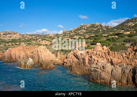 Idyllic rocky coast of Costa Paradiso, Porphyry rocks, Sardinia, Italy, Mediterranean  sea, Europe - Stock Photo