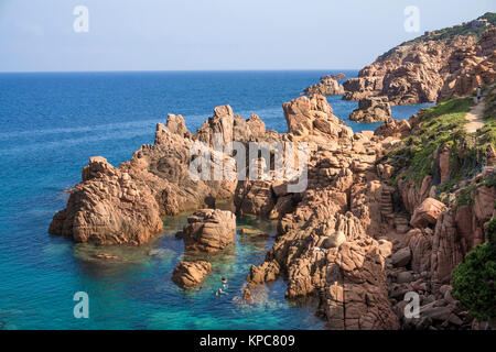 Bathing beach at the rocky coast of Costa Paradiso, Porphyry rocks, Sardinia, Italy, Mediterranean  sea, Europe - Stock Photo