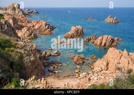 Bathing beach at the rocky coast of Costa Paradiso, Porphyry rocks, Sardinia, Italy, Mediterranean  sea, Europe - Stock Photo