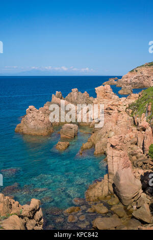 Porphyry rocks, coast landscape at Costa Paradiso, Sardinia, Italy, Mediterranean  sea, Europe - Stock Photo