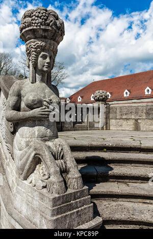mythological sculptures at fountain sprudelhof in bad nauheim - Stock Photo