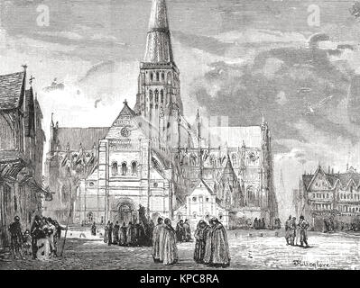 Old St Paul's Cathedral, view from the South West - Stock Photo