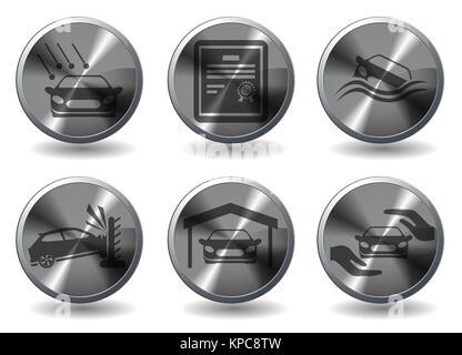 Car Insurance Icons - Stock Photo