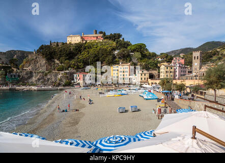 The sandy beach in Monterosso al Mare, Liguria, Italy, Europe. - Stock Photo