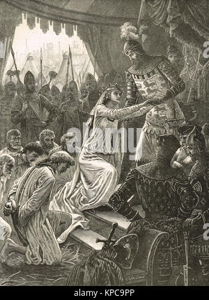 Queen Philippa interceding for the Burghers of Calais, Siege of Calais, August 1347 - Stock Photo