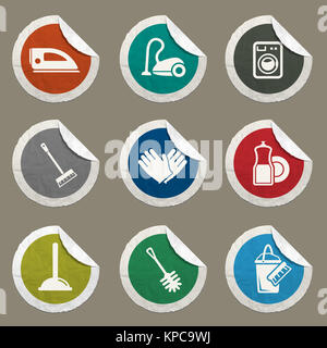 Cleaning service simply icons - Stock Photo