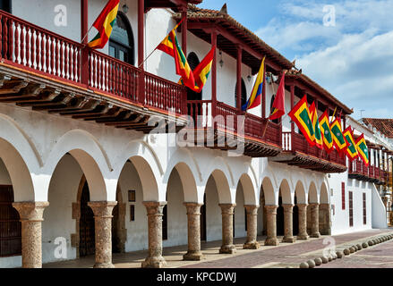 flags of Cartagena at historical facade of town hall 'Alcaldia Mayor', Cartagena de Indias, Colombia, South America - Stock Photo