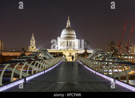 Millenium Bridge and St Paul's Cathedral by night, London, England, Great Britain - Stock Photo