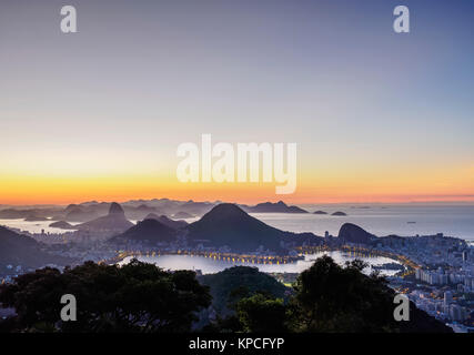 Cityscape from Vista Chinesa at dawn, Rio de Janeiro, Brazil - Stock Photo