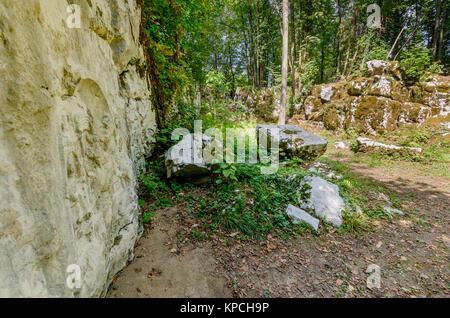 Mithraic temple (Mithraeum II century) situated in chestnut forest above Rozanec, Bela Krajina (White Carniola) - Stock Photo