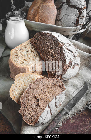 A beautiful loaf of rye farm sourdough bread is handmade. Close-up.