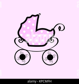 Pink baby stroller with polka dots - Stock Photo