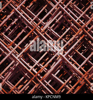 Stack of rusty rebar grids at the construction site - Stock Photo