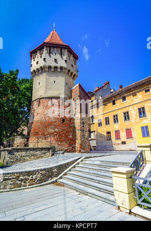Sibiu, Romania : The famous Tower of the Carpenters - on the Cetatii street in a beautifull day - Stock Photo