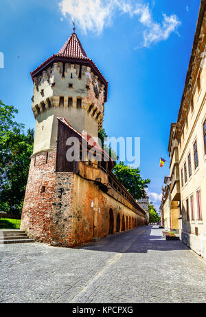Sibiu, Romania : The famous Tower of the Carpenters - on the Cetatii street in a beautifull day. Sibiu, Transilvanya, - Stock Photo