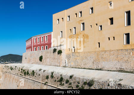 Ramparts surrounding Ibiza old town, Dalt Vila, Elvissa, Balearic islands, Spain. - Stock Photo