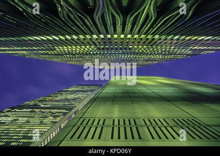 1989 HISTORICAL TWIN TOWERS (©MINORU YAMASAKI 1973) DOWNTOWN MANHATTAN NEW YORK CITY USA - Stock Photo