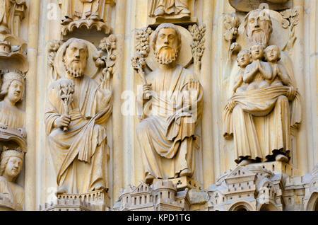 Paris, France. Notre Dame cathedral / Notre-Dame de Paris. Portal of the Last Judgement - Facade detail Stock Photo