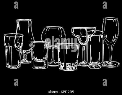 Set of hand drawn sketch style glasses. Vector illustration isolated on black background. - Stock Photo