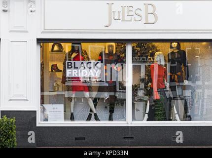 Black Friday sale at fashion retailer Jules B in Jesmond, Newcastle upon Tyne, UK - Stock Photo
