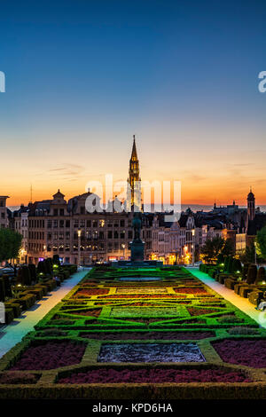 Tower of Town Hall (Hotel de Ville) (background), from gardens at Monts des Arts (foreground), Brussels, Belgium - Stock Photo