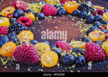Handmade cake with berries. - Stock Photo