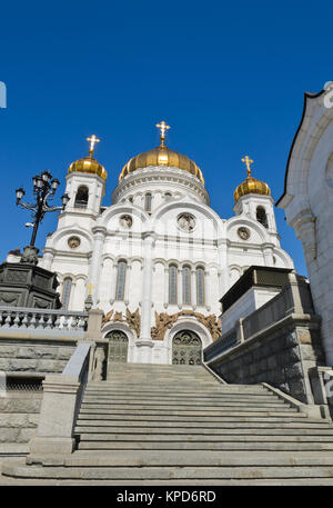 Cathedral of Christ the Saviour,  the largest of the Russian Orthodox Church in Moscow, Russia - Stock Photo