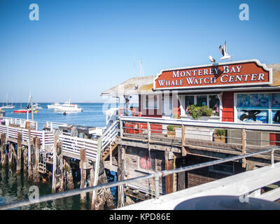 Monterey, USA - October 2, 2013 - View of the Monterey's fisherman's wharf businesses - Stock Photo