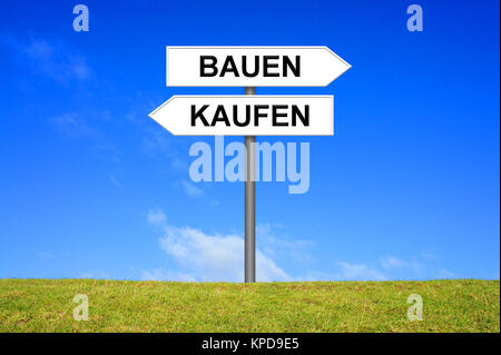 build or buy sign signpost shows - Stock Photo