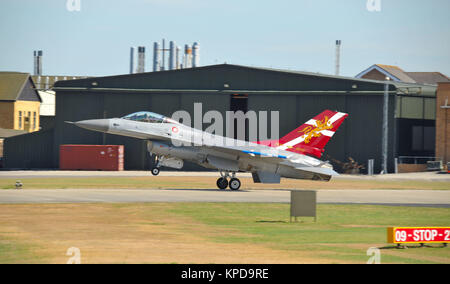 Lockheed Martin General Dynamics F16A Fighting Falcon E-194 with painted tail celebrating 60 years of the Royal - Stock Photo