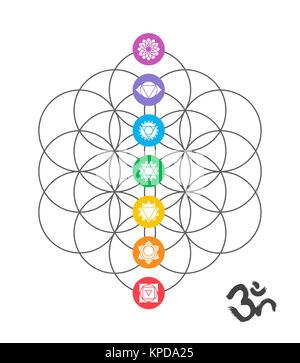 Colorful chakra icons on Sacred geometry design - Stock Photo