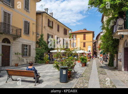 Piazza Ragazzoni in the historic centre of Orta San Giulio, Lake Orta, Italian Lakes, Piedmont, Italy - Stock Photo