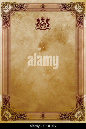 Old grunge paper background with decorative vintage border. - Stock Photo