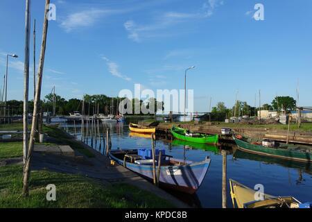 fishing boats on oderhaff - Stock Photo