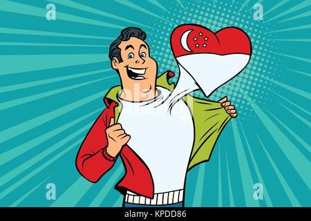 Singapore patriot male sports fan flag heart - Stock Photo