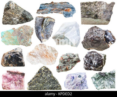 collection of natural mineral rock stone isolated - Stock Photo