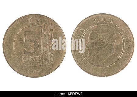 5 turkish kurus coin - Stock Photo
