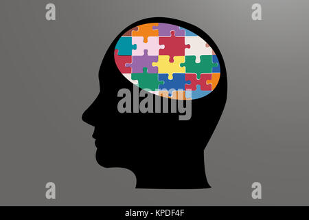 Man head of color puzzle - Stock Photo