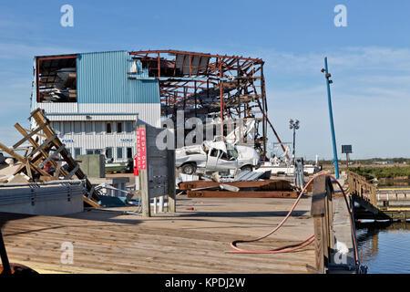 Hurricane 'Harvey'  2017 destruction of Cove Harbor Marina & Dry Stack, storage facility, Lockport, Texas. - Stock Photo