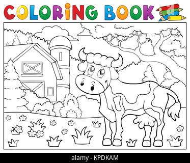 Coloring book cow theme 1 - picture illustration Stock Photo ...