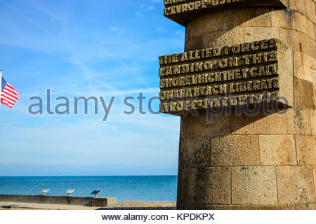 The Normandy Omaha Beach D-Day Monument in Saint-Laurent-sur-Mer on the coast of Normandy France on the English - Stock Photo