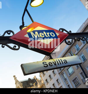 Metro Station Sign in Madrid Spain - Stock Photo